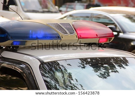 Close-up of a police car. - stock photo