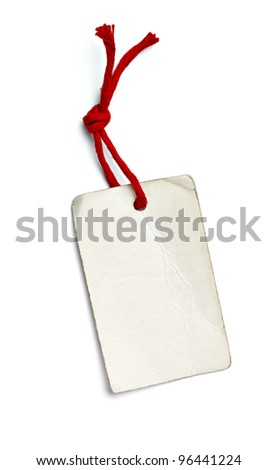 close up of  a price label on white background