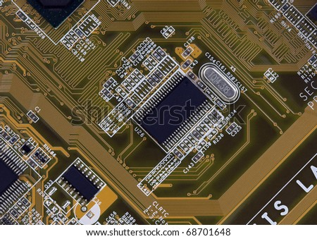 Close up of a printed circuit board