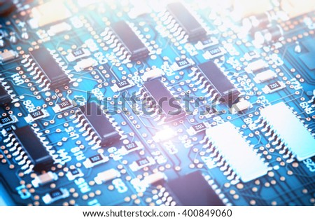 Close up of a printed computer circuit board - stock photo
