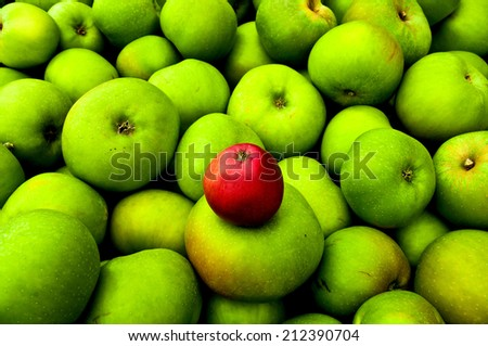 Close-up of a red apple on a lot of green apples - stock photo