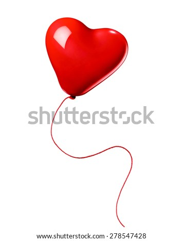 close up of  a red balloon heart shape on white background - stock photo