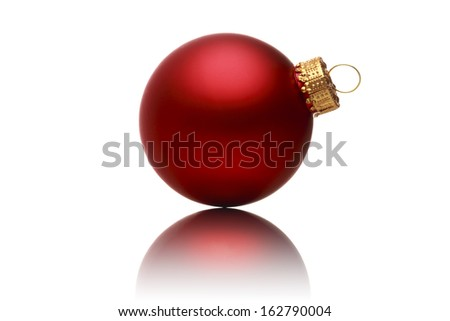 close up of a red christmas ball with reflection, isolated on white.