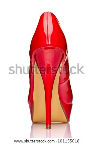 close up of  a red high heels on white background with clipping path - stock photo