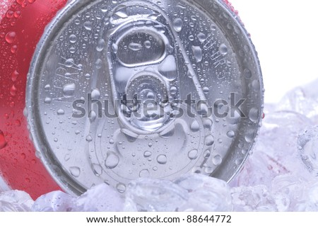 Close Up of a Red Soda Can Top with Ice and Condensation white background.