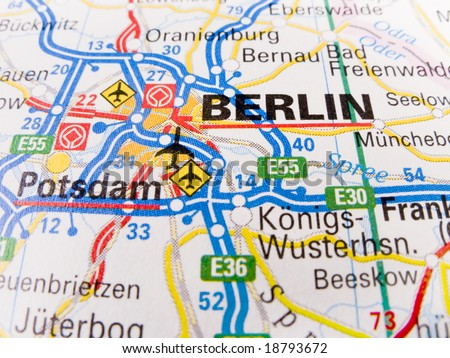 close up of a road map of berlin