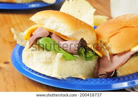 Close up of a roast beef slider on a picnic plate