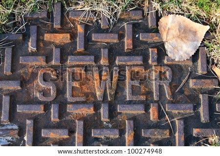 Close up of a rusted sewer cover with a brown leaf and blades of grass in upper right of photo frame. Landscape style./  The Official Sewer Cover / Don't let life go down the sewer. - stock photo