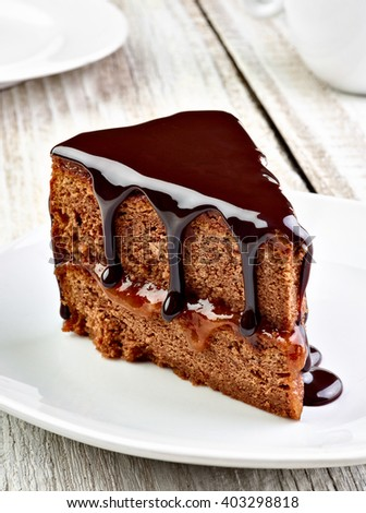 close up of a sacher cake cake - stock photo