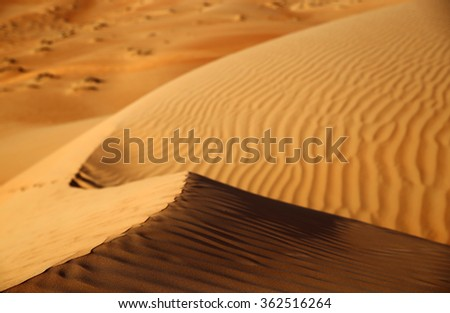Close up of a sand dune at sunset, Rub al Khali or Empty Quarter, Oman - stock photo