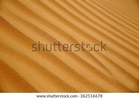 Close up of a sand ripples on a dune, Rub al Khali or Empty Quarter, Oman - stock photo