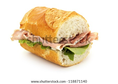 close up of a sandwich on white background - stock photo