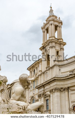 Close-up of a sculpture in the Fountain of Neptune on Piazza Navona, Rome, Italy. - stock photo