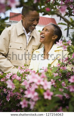 Close-up of a senior man and a senior woman looking at each other