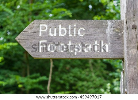 Close-up of a signpost for a public footpath