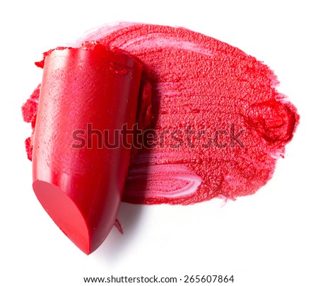 close up of a Slice scratch red lipstick - stock photo