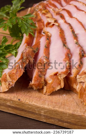 Close up of a smoked   holiday ham on the kitchen table