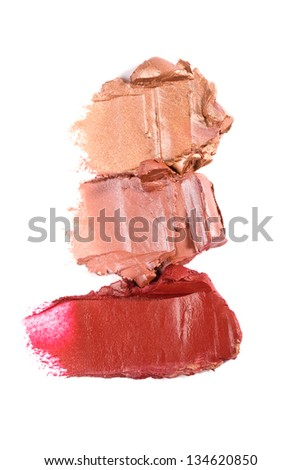 close up of a smudged lipstick on white background - stock photo