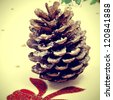close up of a snowy pine cone on a christmas patterned tablecloth, with a retro effect - stock photo