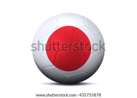 Close up of a soccer ball with national flag of Japan in the studio. Isolated on white background
