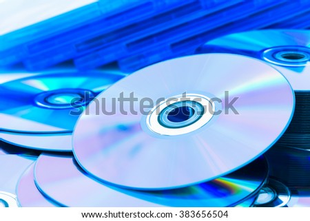 Close up of a stack compact discs (CD/DVD)