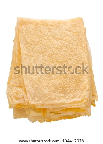 close up of a stack of beancurd sheets - stock photo