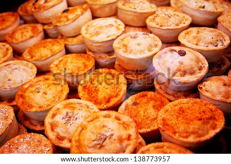 Close up of a stack of pies