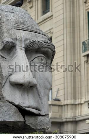 Close-up of a statue, Santiago, Santiago Metropolitan Region, Chile - stock photo