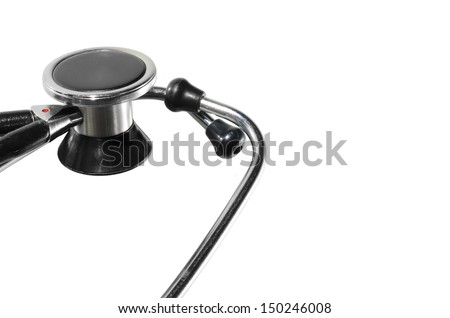 close up of a stethoscope isolated on white background cropped horizontally - stock photo