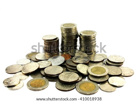 Close up of a stock of thai coins, isolated on a white background