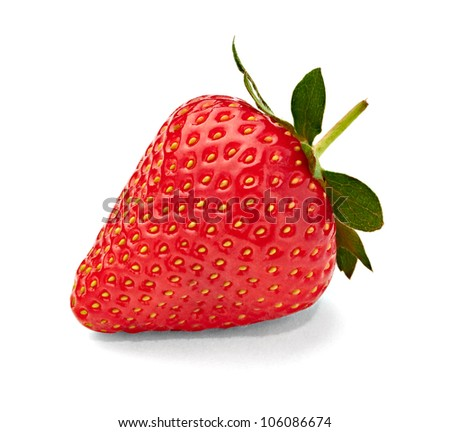 close up of a  strawberry  on white background with clipping path - stock photo