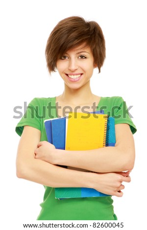 Close-up of a student with books, isolated on white background - stock photo