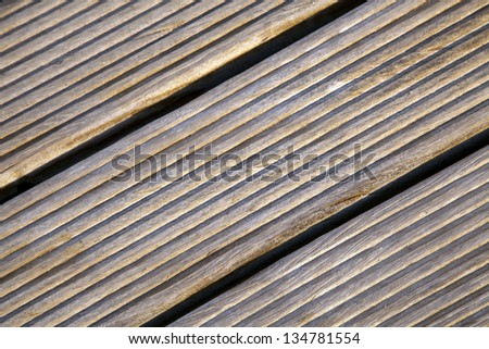 Close-up of a sunlit wooden deck.