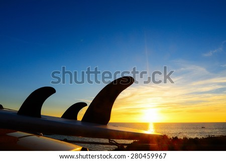 close up of a surfboard on a car roof at sunset