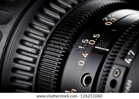 Close-up of a Television Camera Lens. - stock photo