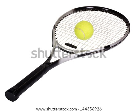 Close-up of a tennis racket with a tennis ball