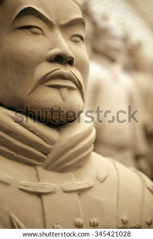 Close up of a terracotta warrior - slightly soft focus - stock photo