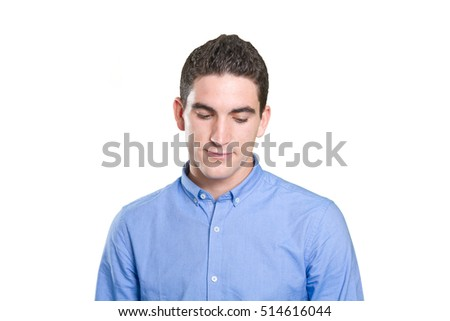 Close up of a thoughtful young man against white background