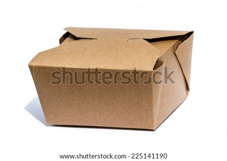 close up of a to go container or take out food container isolated on a white background - stock photo