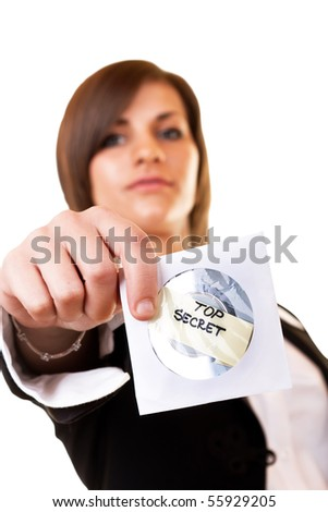 close-up of a top secret cd held by a woman