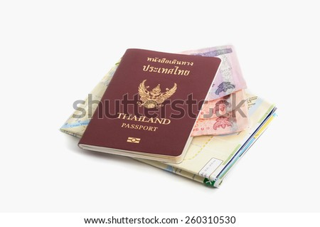 Close up of a traveling documents passport, map and money.