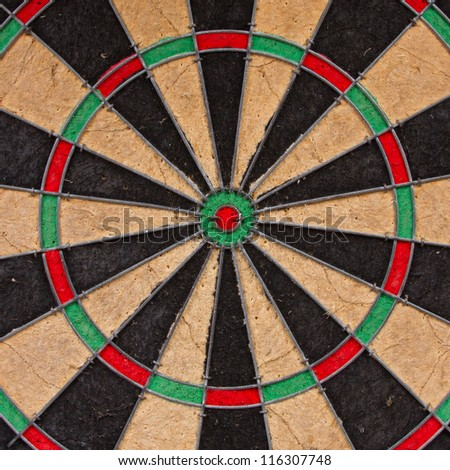 Close-up of a very old dartboard, isolated - stock photo