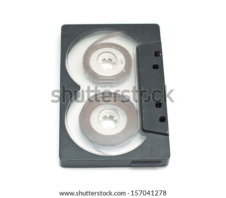 close up of a vintage audio tape on white background