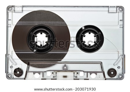 close up of a vintage audio tape on white background - stock photo