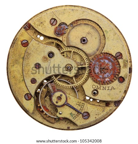 Close-up of a vintage rusty clock, isolated - stock photo