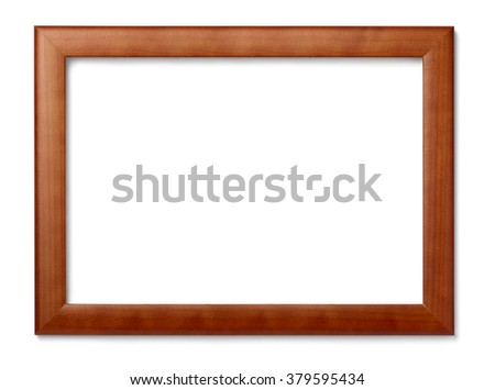 close up of  a vintage wood frame on white background