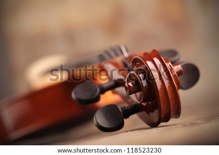 Close up of a violin shallow deep of field - stock photo