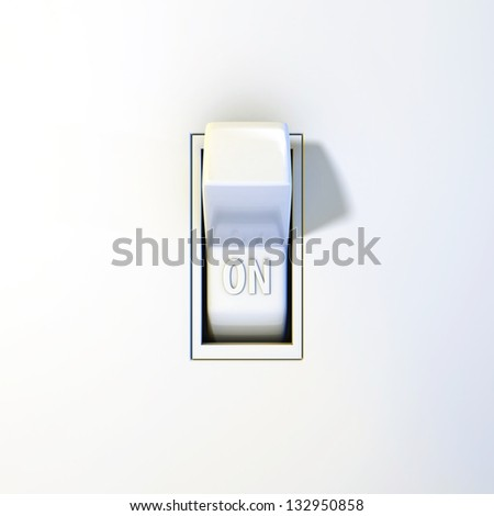 Close up of a wall light switch in the on position - stock photo