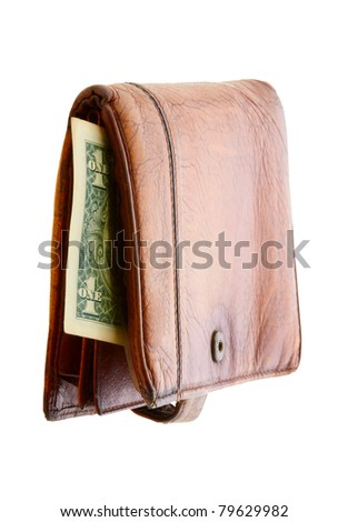 close up of a wallet isolated on a white background