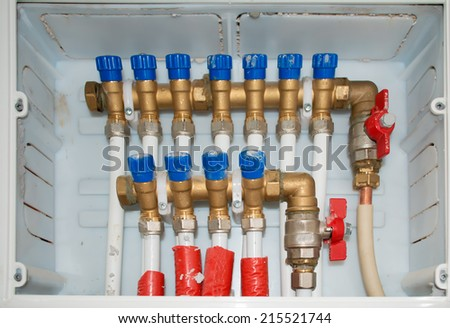 close up of a water system control unit - stock photo